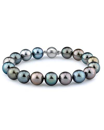 9-10mm Tahitian South Sea Multicolor Cultured Pearl Bracelet in 14K Gold