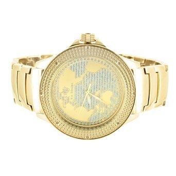 Amazon sleek gold finish plain band real diamond bezel world sleek gold finish plain band real diamond bezel world map design ice mania watch gumiabroncs Images