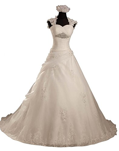 Angel Formal Dresses Women's a Line Cap Sleeves Rhinestone Organza Wedding Dress