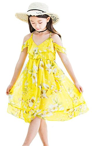 Dress Spaghetti Girl Hawaiian (Little Girls Spaghetti Strap Off Shoulder Hawaiian Flowers Maxi Beach Dress Size 7-8Years/Tag150 (Yellow))
