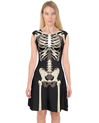 PattyCandy Womens Faux Skeleton Body Pattern Sexy Capsleeve Midi Dress - L ()