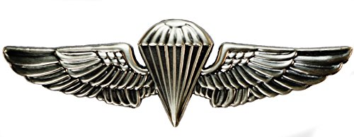 Jump Wings Hat (Marine Jump Wings Large Hat Pin Badge 2 7/8 inch antique silver finish)