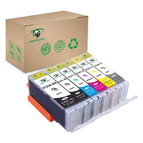Supricolor Edible Ink Cartridge Replacement PGI-250 CLI-251 6 Color (with Gray), Work with PIXMA iP7220 MG5420 MG5422 MG6320 MX722 MX922. Cake Printing
