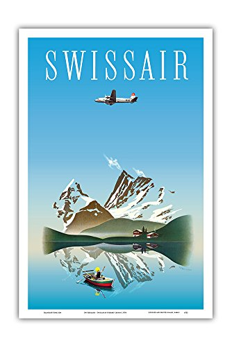 Pacifica Island Art Switzerland - Swissair - Douglas DC-4 Airliner - Vintage Airline Travel Poster by Herbert Leupin c.1956 - Master Art Print - 12in x 18in