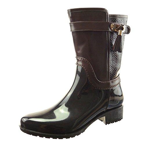 Sopily - Scarpe da Moda Stivaletti - Scarponcini Stivali - Scarponi stivali  pioggia donna pelle di a7089996b07