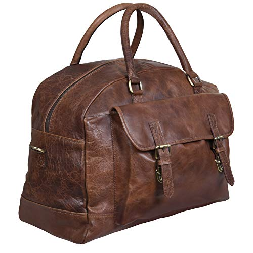Tan Leather Travel Carry On Duffle Bag Satchel for Men and Women