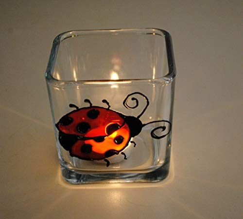 Red Ladybug Stained Glass Hand Painted Square Candle Holder Home Decor ()