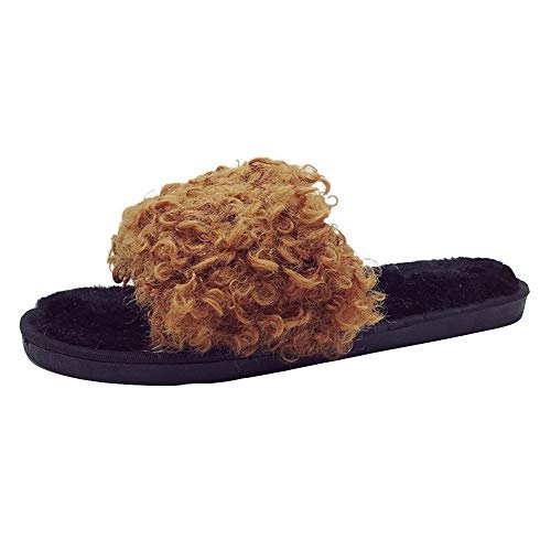 HYIRI New Classic Fluffy Flat Slippers,Womens Ladies Slip On Sliders Flip Flop Sandals for $<!--$13.97-->