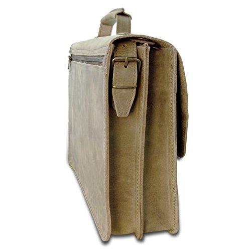 Aktentasche WARSAW aus braunem Leder inkl. Lederpflege - THIELEMANN Handmade in Germany
