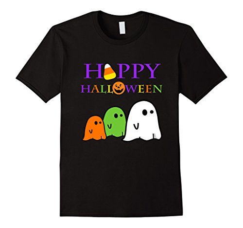 [Mens Ghost Halloween Shirt Happy Halloween School Teacher Party 3XL Black] (Homemade Costumes For Preschool Teachers)