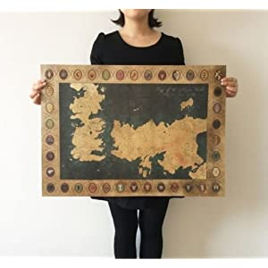 Shalleen Game of Thrones American TV Series The old map Vintage paper Poster 28x20inch