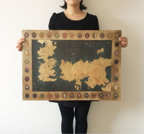 Shalleen Game of Thrones American TV Series The old map Vintage paper Poster 28x20inch (Watch Game Of Thrones Online Good Quality)