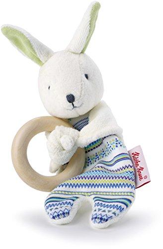Käthe Kruse Bunny Buddy Plush with Wooden Ring Grabbing Toy ()