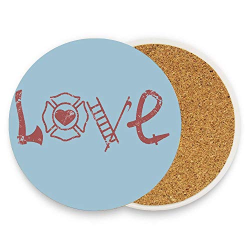 HappyToiletLidCoverX Love Axe Firefighter Coaster for Drinks,Wallpaper Ceramic Round Cork Table Cup Mat Coaster Pack Of 1