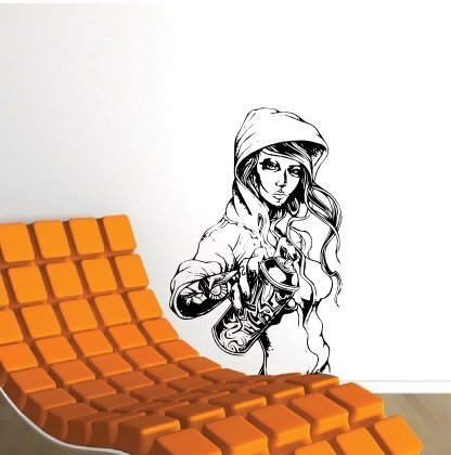 Wall Tagger Chick Decal Large Mural Art spray Erotic STICKER HIp Hop Poster in Black (Hip Hop Sticker)