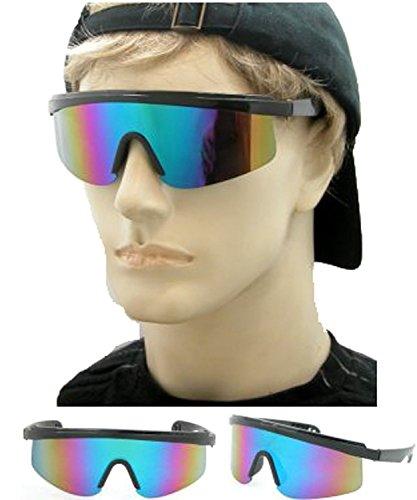 Black Mirror Lens Wrap Sunglasses 80's - Sunglasses Wrap Vintage