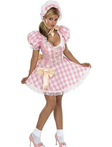 Womens Adult Little Bo Peep Pink and White Gingham Dress Costume -