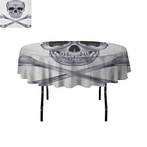 Douglas Hill Grey Printed Tablecloth Vivid Skull and Crossed Bones Dangerous Scary Dead Skeleton Evil Face Halloween Theme Desktop Protection pad D47 Inch Dimgray]()