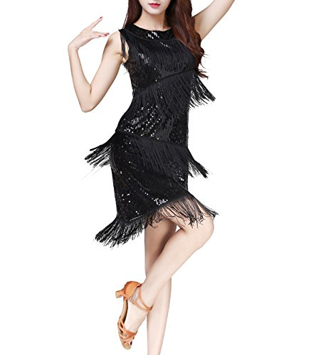 Tassel Flapper Gatsby Theme Like Style Clothing Attire Dresses for a Party Black ()