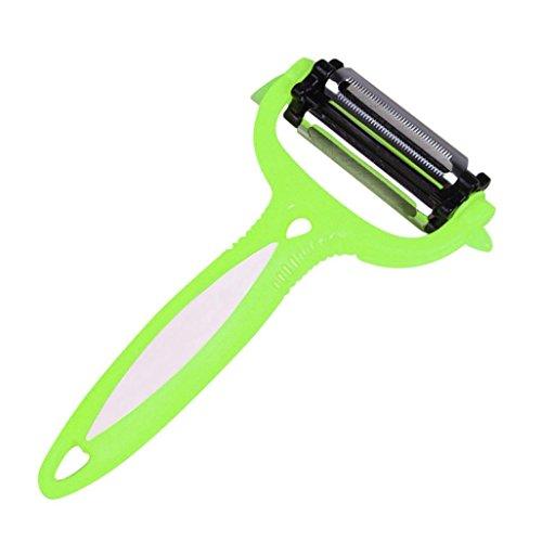 Hot Sale! Hongxin 3 in 1 Rotary Vegetable Fruit Peeler Knife 360 Degree Carrot Potato Peeler Melon Slicer Gadget Kitchen Tools Multifunctional Grater Turnip Cutter Slicer Clearance (Green)