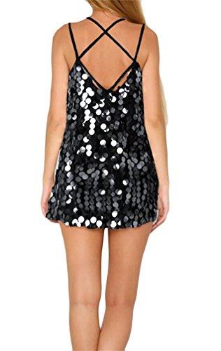 Dress Cami Club Womens Sequin Slip Mini Cross Strap Summer Black Domple Spaghetti vgqwS0C