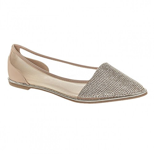Ladies Womens Flat Slip on Diamante Shoes With Mesh Sides Nude