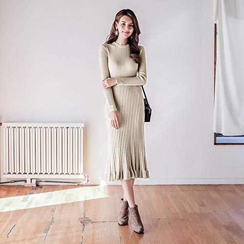 Apricot Party Inverno Autunno Maglione Vestito Dress Elegante Slim O Solido Cxlyq Donna Elastico Maglia Abito Ruffles collo Long aqxwyt1T