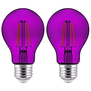 Sunlite 81081 LED Filament A19 Standard Colored Transparent Dimmable Light Bulb, 2 Pack, Purple