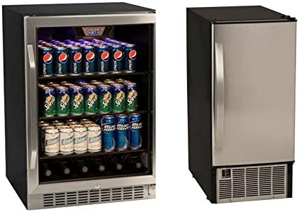 Edgestar 148 Can Stainless Steel Beverage Cooler 45lb Stainless Steel Clear Icemaker