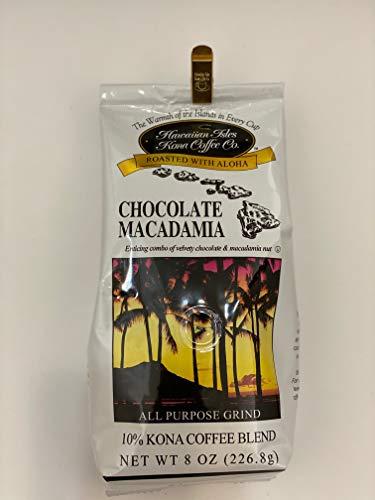 Hawaiian Isles 10% Kona Blend Gourmet Coffee, Chocolate Macadamia Nut, Ground (2 Pack)