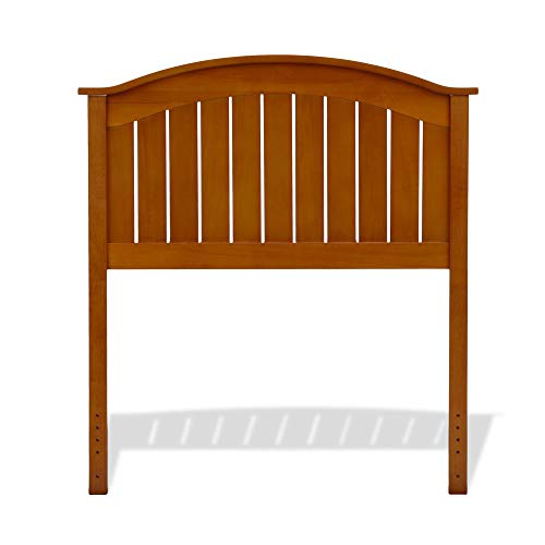 Fashion Bed Group Finley Wood Headboard Panel with Curved Top Rail and Slatted Grill Design, Maple Finish, Twin