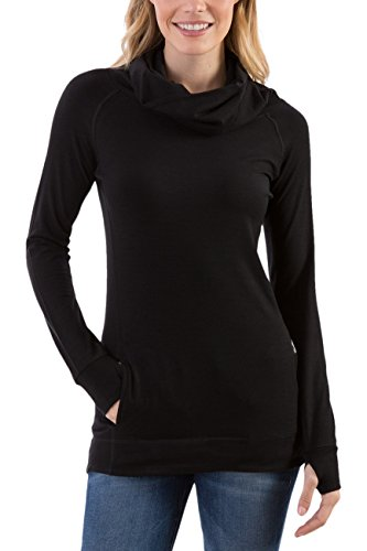 Woolly Clothing Women's Merino Wool Cowl Neck Pullover - Mid Weight - Wicking Breathable Anti-Odor M BLK