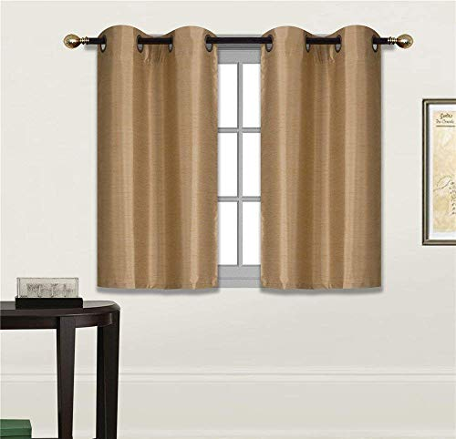 Gold Curtain Set - Fancy Linen 2 Panel Faux Silk Blackout Curtain Set Solid Gold with Grommet Top Room Darkening Short Tier Drapes for Kitchen, Bathroom or Any Small Window New