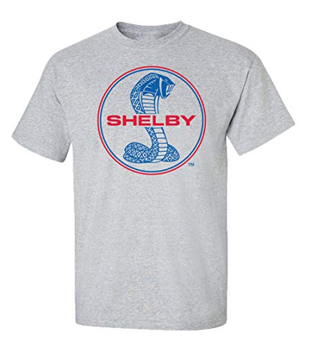(Ford Shelby Cobra Blue & Red Circle Logo Car T-Shirt Adult Men's Short Sleeve-Sports Gray-Small)