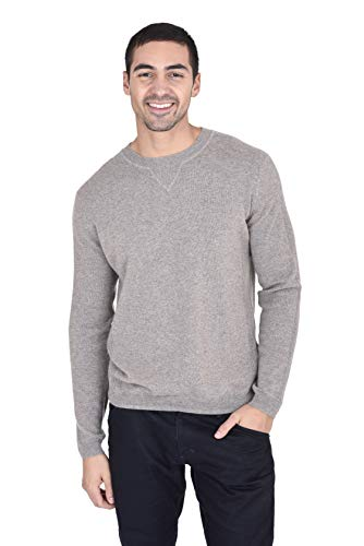 State Cashmere Men's 100% Pure Cashmere Regular Fit Crew Neck Long Sleeve Sweater