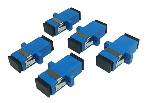 Cerrxian SC Singlemode Fiber Optic Adapter SC Female to SC Female UPC Simplex Single Mode Fiber Optical Network Internet Coupler Connector Adapter with Mount Panel (Blue 5-Pack)