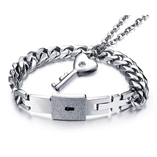 Stylish Silver Stainless Steel Bracelet Love Heart Couple Lock Bangle Key Pendants Necklace Simple Korean Style