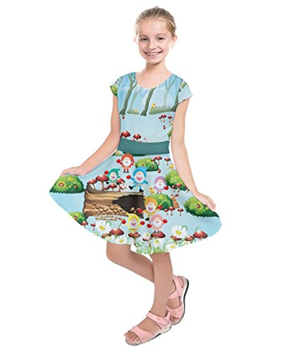PattyCandy Girls Short Sleeve Dress Woodland Gnomes & Mushrooms Theme - 8 ()
