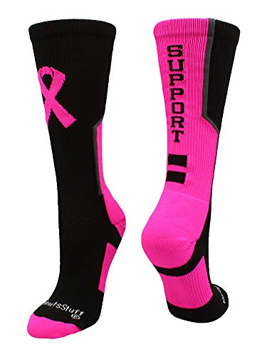 - MadSportsStuff Breast Cancer Awareness Support Crew Socks (Black/Neon Pink/Graphite, Large)
