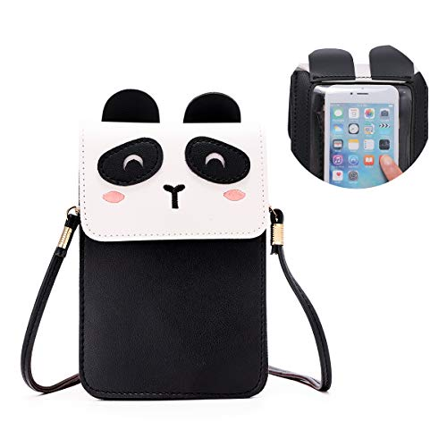 Women Small Crossbody Bag - Cell Phone Purse Smartphone Wallet Cute Animal Bags (Black-Panda)