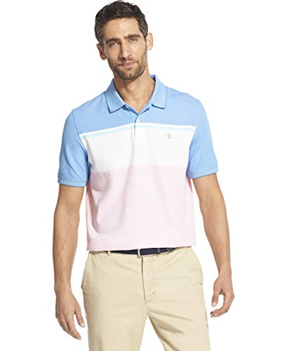 IZOD Men's Slim Fit Advantage Performance Short Sleeve Colorblock Polo, Candy Pink, Large ()