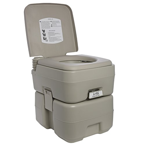 Jumbl Outdoor Portable Toilet for Camping, Hiking & Travel Trailer – 5.3 Gallon (20L) Porta Potty with Double Compartments and Flush Mechanism by Jumbl