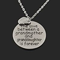 The Love Between a Grandmother and Granddaughter is forever Charm Necklace Gift