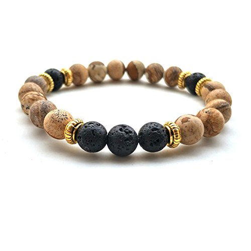 - Lava Stone Meditation Mala African Tibet Bead Turquoise Howlite Oil Diffuser Ethnic Elastic Bracelet