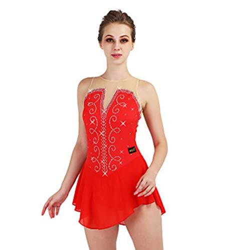 Figure Skating Dress Women's Ice Skating Dress Red / Dark Navy Spandex, Stretch Yarn Stretchy Performance / Professional Skating Wear Quick Dry, Anatomic Design, Handmade Classic / Sexy Sleeveless,Red