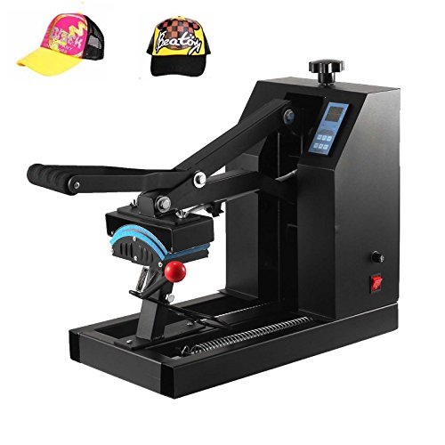 Happybuy Heat Press 7x3.75Inch Curved element Hat Press Clamshell Design Heat Press for Hats Rigid Steel Frame No Stick Digital LCD Timer and Temperature Control (7x3.75Inch Clamshell Design) by Happybuy