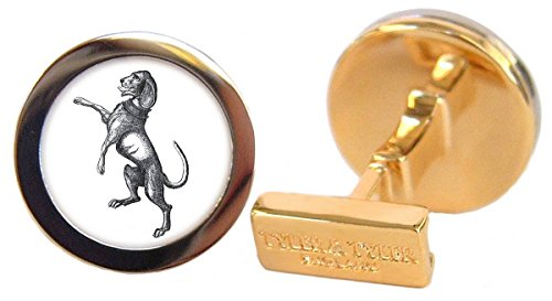 Tyler and Mens Heraldic Dog Capsule Cufflinks - Gold