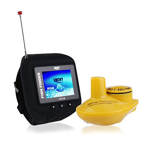ActionEliters Fish Finder,Wireless Sonar Sensor Fishfinder with Fish Size/Location/Water Temperature/Depth/Color LCD Display,for Small Boats Ice Lake Sea Night Fishing