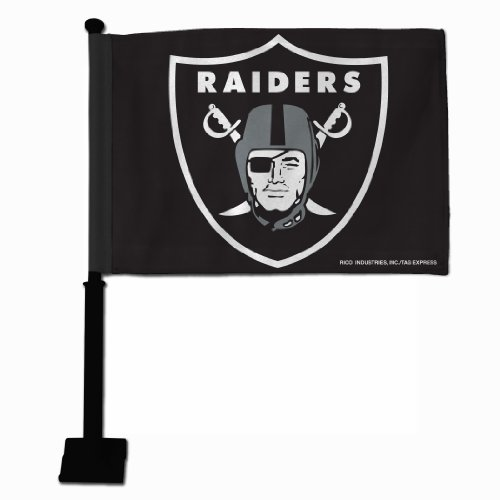 NFL Oakland Raiders Car Flag with Black Pole
