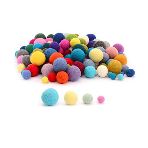 Glaciart One Felt Pom Poms, Wool Balls (160 Pcs) 4 Sizes: 1 cm, 1.5 cm, 2 cm & 2.5 cm, Handmade Felted 40 Color (Red, Pink, Blue, Yellow, White, Pastel & More),Bulk Small Puff for Felting & Garland